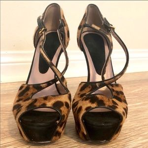 Gucci Calf Hair Leopard Print stiletto 37.5 OBO